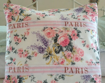 French Country Pillow Cover, Sham, Cottage Chic Pillow Cover, Shabby Chic Pillow Sham, Floral Pillow, Paris Apartment Pillow Cover,