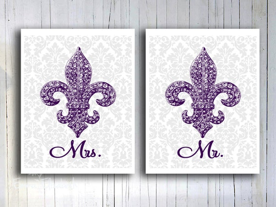 Wedding Gift Ideas For French Couple : and Mrs Poster Wedding gift French Fleur de lis Art print Couples gift ...