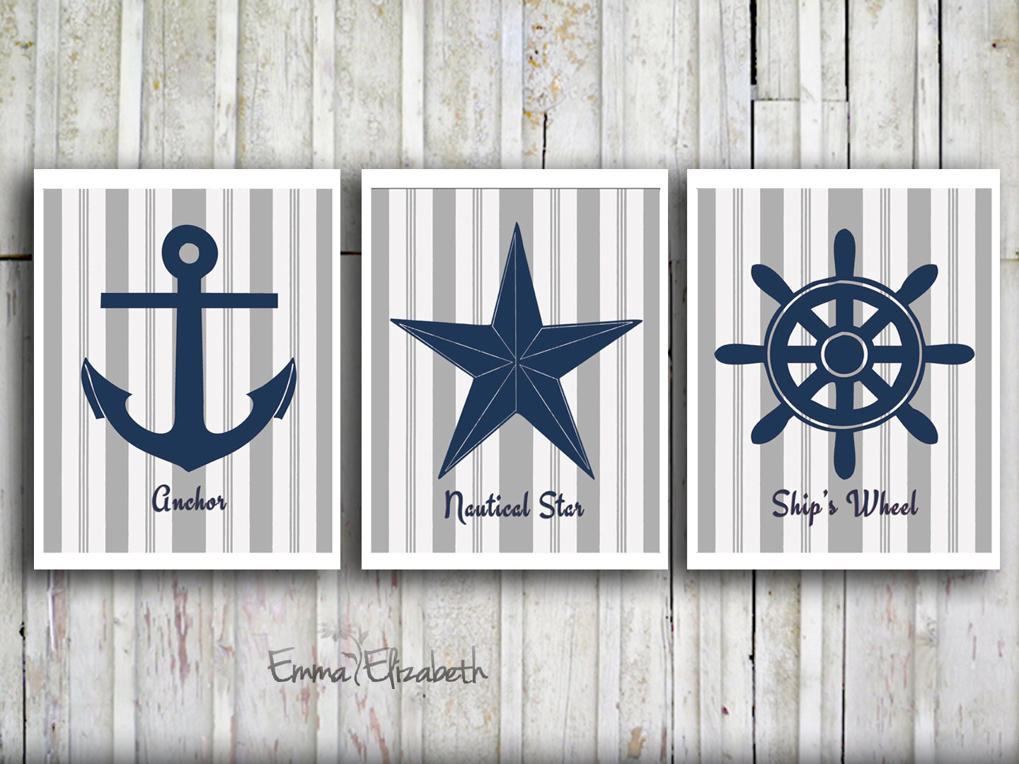 Coastal Wall Decor: Nautical Wall Decor Modern Art Print Set Navy Blue By