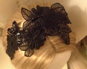 30% Off Moving Sale - Black Embroidered pearl sequin lace flower fascinator / Hat / Headband