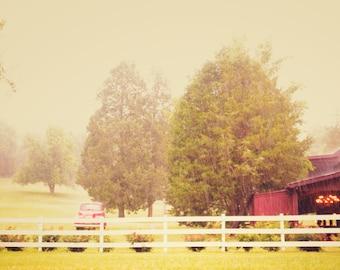 Fine art Photography-farm- Nashville-Tennessee-wall art-barns-trees-red-8x12-rain-summer-8x12-home decor