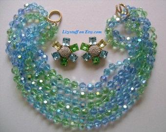 Mesmerizing CINER Couture Sparkle Azure Blue Green Yellow Crystal Glass Aurora Borealis Rhinestone 6-Strand Beaded Torsade Necklace Earrings