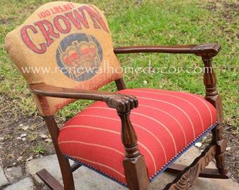 Custom Order - Vintage Crown Rocking Chair - SOLD!!