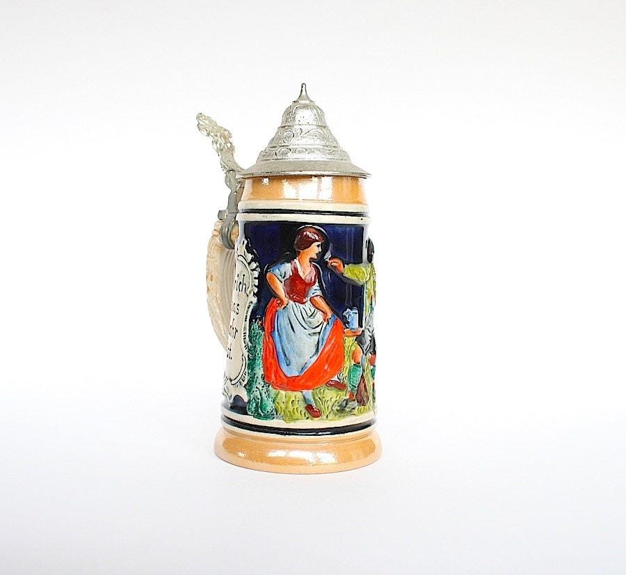 German Beer Stein Vintage Ceramic Beer Mug Pewter Lid Tankard