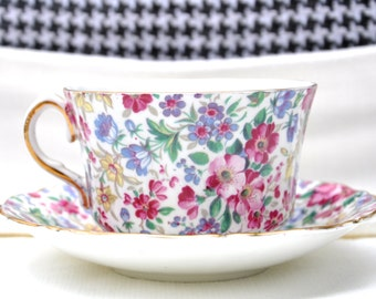 Chintz China Teacup and Saucer by Old Royal Bone China