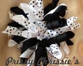 Black and white polka dot korker bow