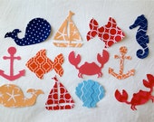READY TO SHIP, set of 12 Nautical baby shower activity Iron On appliques, Ocean, sea life & sailing onsies appliques, 25% to Charity