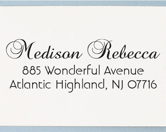 Custom Return Address Stamp - Personalized Address Stamp - Cursive Script Name - AS26