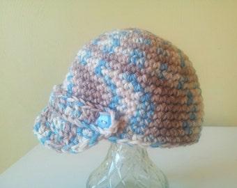 Newsboy crochet cap - 3 styles - 4 sizes