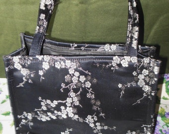 Black & Silver Satin Asian Floral Fabric Handbag