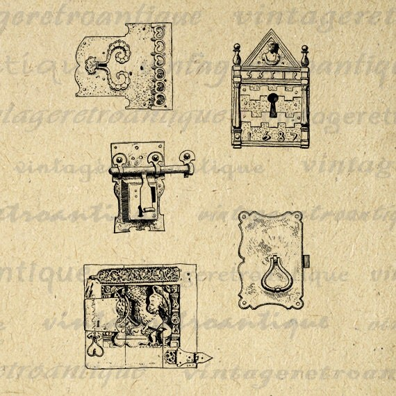 Printable Graphic Antique Keyhole Collage by ...