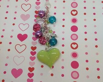 Green heart cell phone charm, headphone jack charm, dust plug charm, dust plug, phone charm, phone accessories, iphone