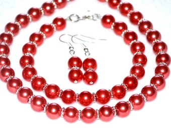 Burnt Orange Pearl Bridal Set jewelry