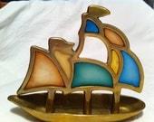 Brass Sailboat Colorful Sailboat Brass Boat Nautical Decor Vintage Brass Sailboat