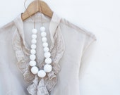 White dove -  white wooden necklace, chunky, statement, wood round beads