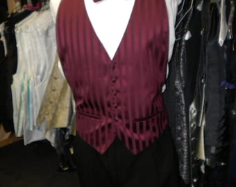 mens vintage burgundy vest and bowtie