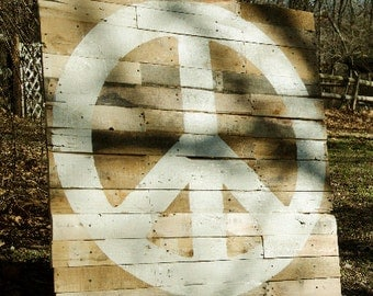 "Peace Sign Cream on Reclaimed Lumber Wall Hanging 36"" x 36"""