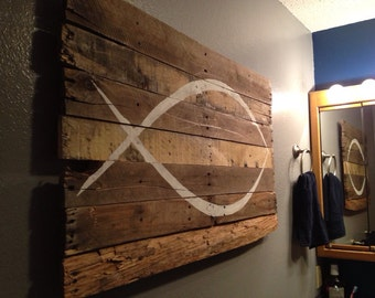 """ICHTHYS / Jesus Fish Wall Hanging on reclaimed wood 40"""" x 25"""""""