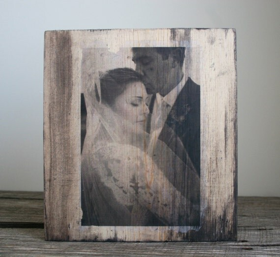 """Personalized Photo on Distressed Wood 12""""x12"""""""