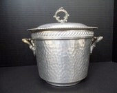 Barware Ice Bucket Ornate Hammered Aluminum  Mid Century Mad Men Silver