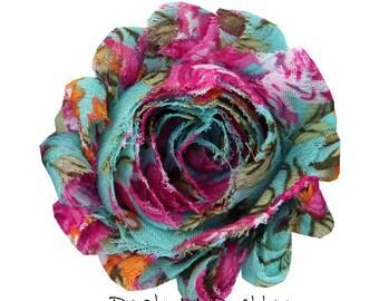 """1 YARD 2.5"""" Printed Aqua Pink Floral Shabby chiffon flower TRIM"""