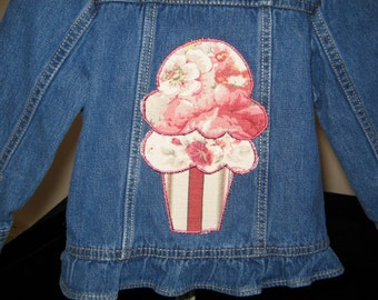 Ice Cream Cone Appliqued Jean Jacket