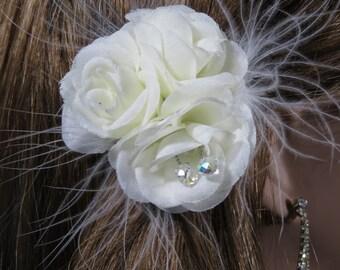 Ivory Bridal Flower - Wedding Hair Flower - Wedding Accessory-Bridal Hair Clip-Swarovsky-Feathers