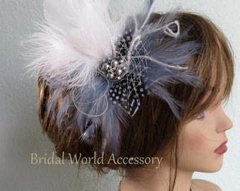 Wedding Hair Clip  - Fascinator - Wedding Accessory- Feathers-Cristal Brooch-Ostrish Feathers