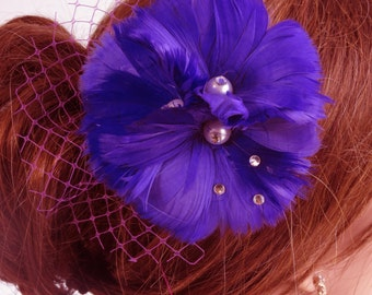 Wedding Accessory Medium Purple Blu Feather Clip Bridal accessory Hair Feather Clip Swarovsky Feathers-Vail