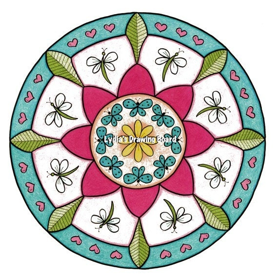 Mandala Print, Mandala Wall Art, Dragonfly Art, Meditation Art, Butterfly Art, Energy Art, Geometric Art, Yoga Studio Decor, Organic Art