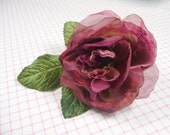 Velvet and Organdy Marsala Rose Millinery Flower Soft Wine Burgundy with Leaves for Hats, Wedding, Corsage