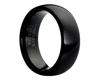 Black Tungsten Wedding Bands Brushed Polished Tungsten Ring Anniversary Ring Wedding Ring Tungsten Carbide,Black Tungsten Comfort Fit