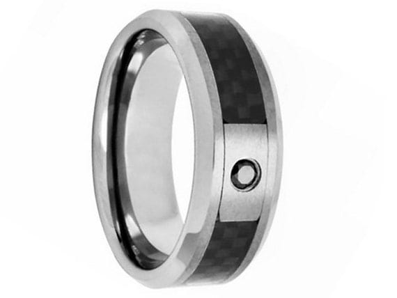 Personalized Engraved Tungsten Carbide with Black Diamond Mens Ring
