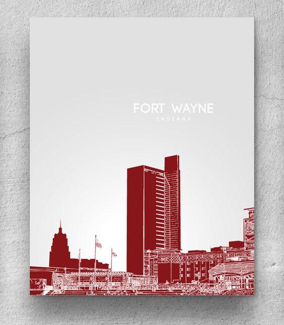 Fort wayne skyline spring home office art poster any city for Custom t shirts fort wayne