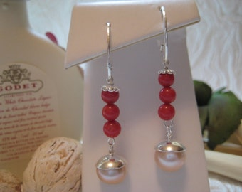 Vintage  Sterling Silver Natural Blood Red Coral  And  Baroque Pearls Dangling Earrings