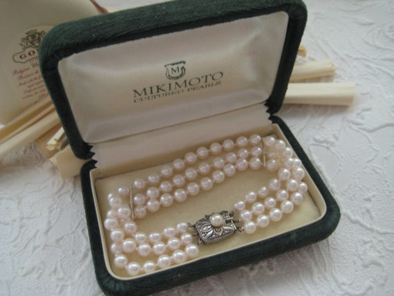 Vintage Mikimoto Cultured Pearl Bracelet Sterling Clasp In Box
