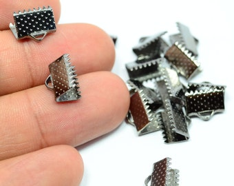60 Pcs Gunmetal Tone 10 mm Ribbon End Crimps