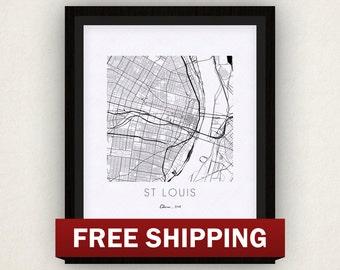 St Louis Map Print