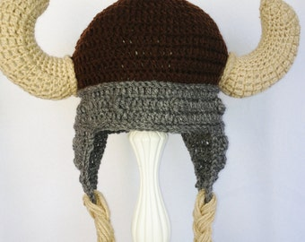 Viking Hat Brown Gray Crochet, earflap with horns, Please include SIZE in order