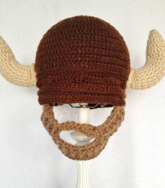 Crochet Viking Hat With Beard : Viking Beard Hat, Brown crochet bearded beanie, please make sure to ...