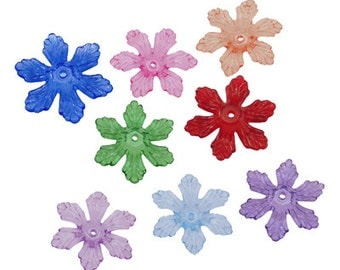 50 Transparent pointed flower lucite Beads, Mixed Color