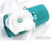 Bridal Wedding Clutch Flower Handmade Brooch Bridesmaids Purse with Handmade Flowers, Crystals, Pearls  in Teal and White