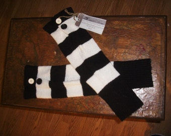Upcycled, Recycled, Refashioned Black/White Stripped Leg Warmers