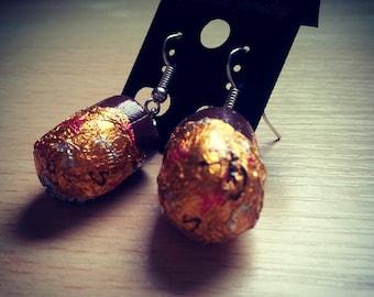 Chocolate cream egg dangle earrings