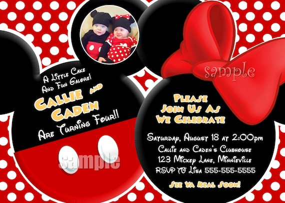 YOU CHOOSE Mickey Mouse Invitation For by ThePrintableOccasion