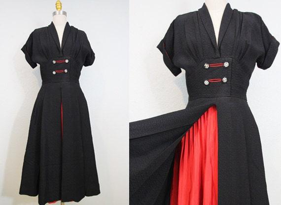 1940s crepe silk kimono dress/ 40s crepe silk rayon swing