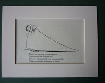 Vintage 1950 Edward Lear Print - Victorian Nonsense - Silly Story - Childrens - Limerick - Song - Matted Ready To Frame - Green Shawl
