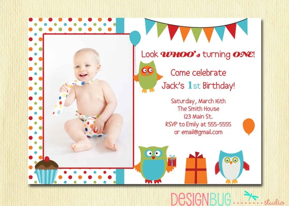 Items Similar To Owl Birthday Boy Invitation First