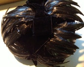 Vintage Black Faux Feather Hat and pins in box