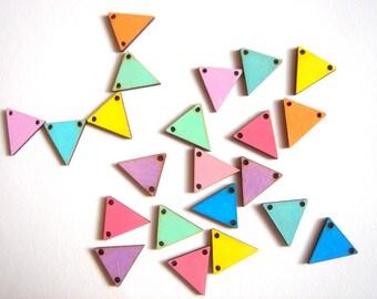 Neon Geometric Triangles,Hand Painted Wood Triangles Tile for Jewelry,Geometric Jewelry,